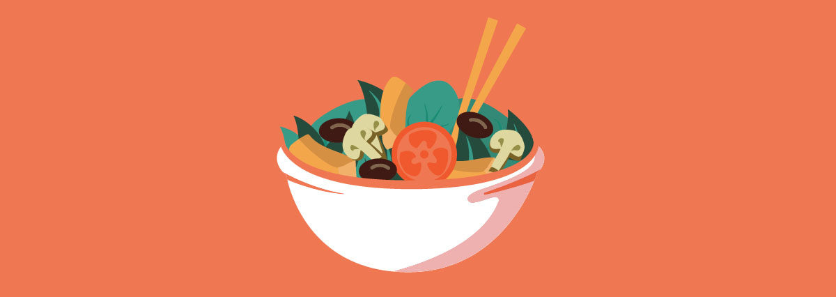 Salad bowl filled with greens, mushrooms, olives and a tomato with chopsticks
