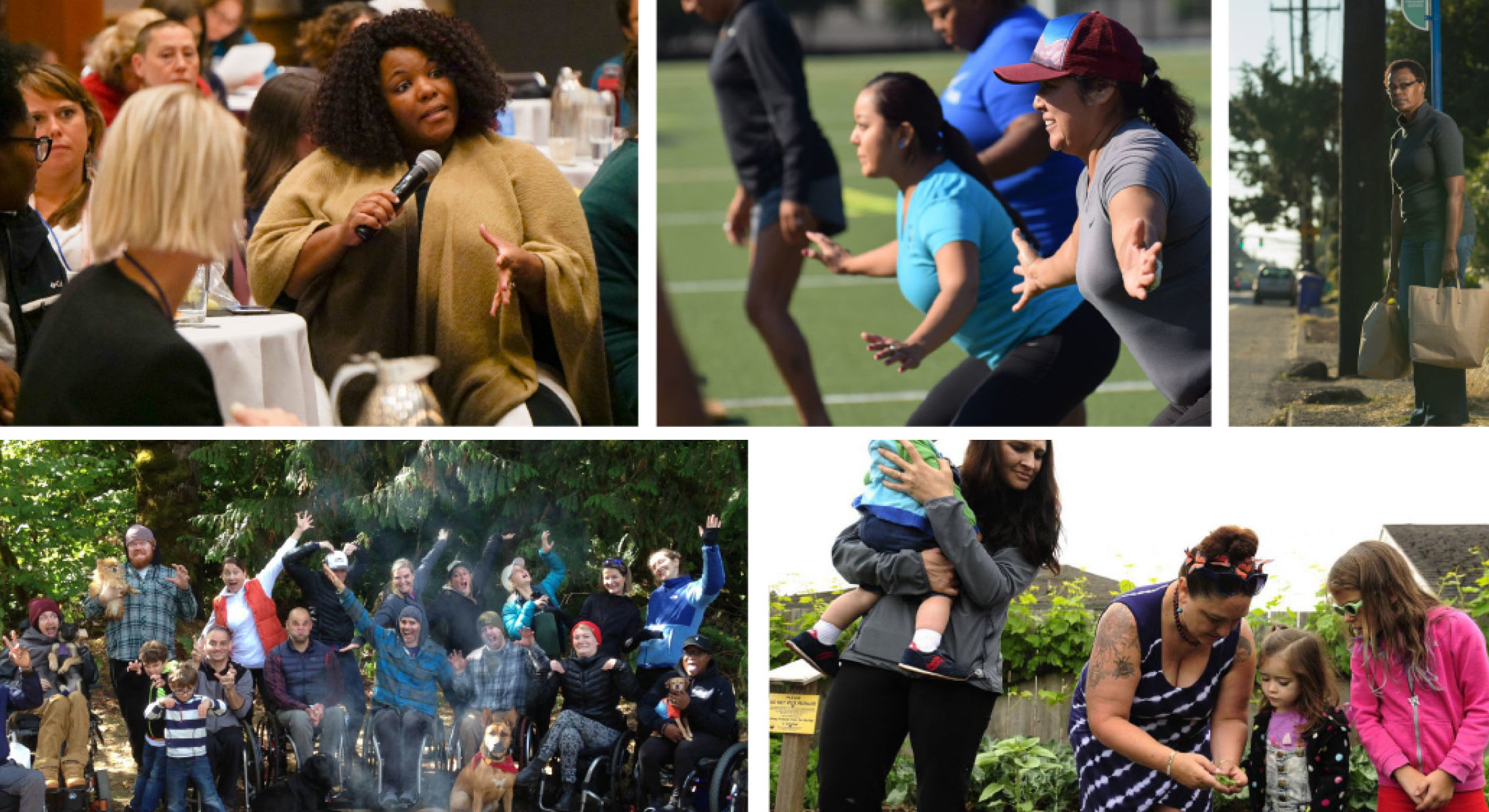 A collage consisting of a Black middle-aged woman speaking up at a public health conference, a diverse group of females working out outside, a Black senior female holding bags of groceries waiting outside at a bus stop looking pensive, a large group of people living with disabilities camping, and a group of young and older females gardening outside